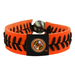오픈메디칼[10%적립][GAMEWEAR] 게임웨어 Baltimore Orioles Jersey Sleeve Logo Orange Leather/ Black Thread Team Color Bracelet