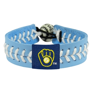 오픈메디칼[10%적립][GAMEWEAR] 게임웨어 Milwaukee Brewers Retro Powder Blue Leather/White Thread Team Color Baseball Bracelet