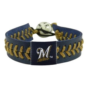 오픈메디칼[10%적립][GAMEWEAR] 게임웨어 Milwaukee Brewers Navy Leather/Gold Thread Team Color Baseball Bracelet